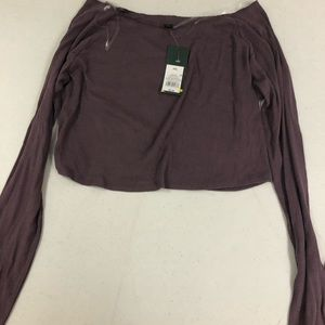 Expressive plum off shoulder pull over sweater
